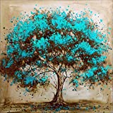 Mxjsua 5d diamond painting by number kit diy full round drill cross stitch rhinestone picture craft art for home wall decor blue flower tree 30x30cm