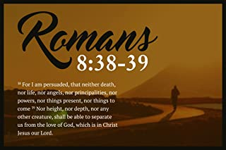 JSC544 Romans 8:38-39 Bible Verse Poster Walking Path | 18-Inches By 12-Inches | Motivational Inspirational Educational Religious | Premium 100lb Gloss Poster Paper