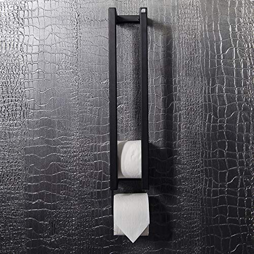 Toilettenpapierhalter Manhattan, Klopapierhalter | Papierhalter für Badezimmer, Toilette, WC, Gastronomie - Wandhalterung - Stahl Industrial-Look - 58x10x13 cm - Matt-Schwarz
