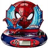 Marvel, Reloj Despertador con proyector Spider-Man, Luz de Noche incorporada, proyección de Tiempo en el Techo, Efectos de Sonido, Funciona con batería, niño, Azul/Rojo, RP500SP