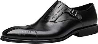 Mens Leather Monk Strap Handmade Fashion Slip-on Formal Business Dress Shoes Loafers in Black Brown
