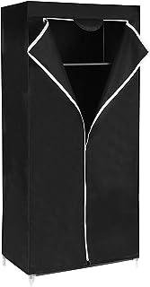 SONGMICS Armario de Tela, Armario Plegable con Barra de Colgar, Perchero Individual, Organizador de Bolsas, Juguetes, Zapatos, Sala, Dormitorio, 75 x 45 x 160 cm, Negro RYG83H