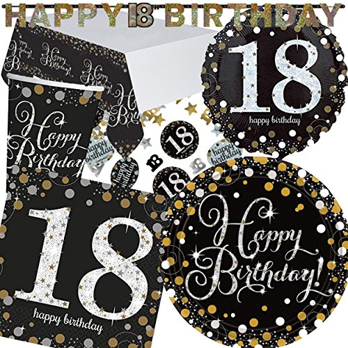 XXL kit de Party * Sparkling Celebration * pour le 18e Anniversaire/bannière/avec assiettes + Mug + Serviettes + Nappe + confettis + + Ballon Gonflable//Kit de Party Devise Huit Dix