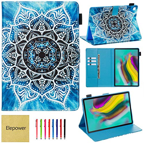 Elepower Samsung Galaxy Tab S5e 10.5 Case, Smart Folio Stand Flip Wallet Case with Card Stylus Holder Shockproof TPU Cover for Tab S5e 10.5 Inch SM-T720 SM-T725 2019 [Auto Wake/Sleep] Mandala
