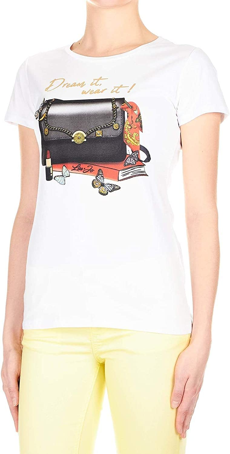 LIU JEANS Women's W19437J5003V9962 White Cotton TShirt