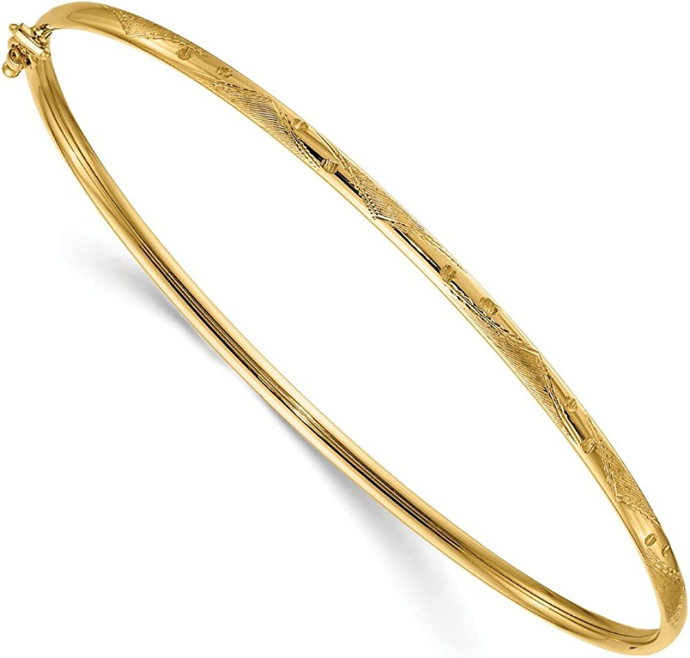 Solid 14k Yellow Gold Brushed and Flexible Clasp Bangle Cuff Bracelet (Width = 0mm)
