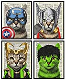 Superhero Cat 4 Piece Set, Captain Cat, Thor Cat, Loki Cat and Hulk Cat Art Prints, Kids Bedroom Decor on Vintage Dictionary Book Pages Children's Room Art 8x10 inches each, Unframed