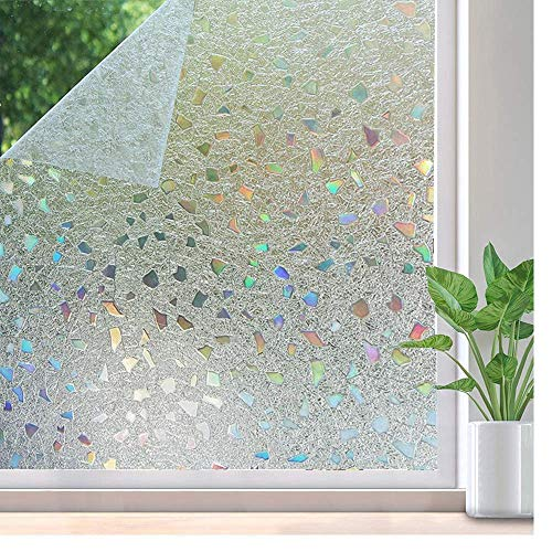 N / A Window film, self-adhesive fresh-keeping window glass film, non-adhesive privacy window sticker UV protection 3D window covering home decoration film A45 60x200cm