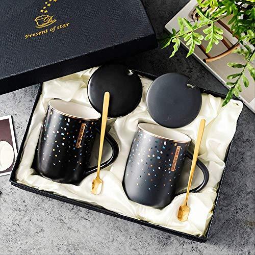 KYSM Taza de Regalo de cerámica Regalo en Caja Pareja a Taza con Regalo de Mano Taza de Ceremonia de Apertura 400 ml Negro + Gris