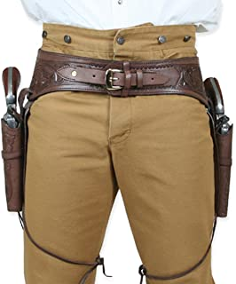 Historical Emporium Men's Double Tooled Leather Western Gun Belt and Holster .44/.45 Cal