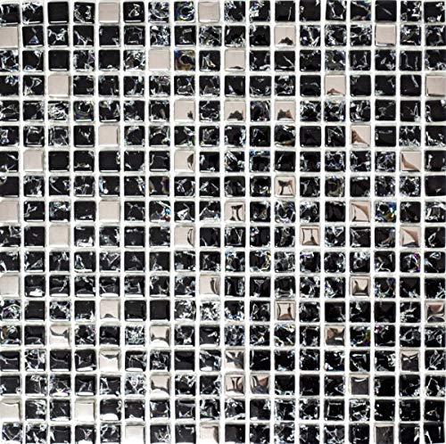 Mosaikfliese Transluzent schwarz silber Glasmosaik Crystal EP schwarz silber MOS92-1099_f | 10 Mosaikmatten