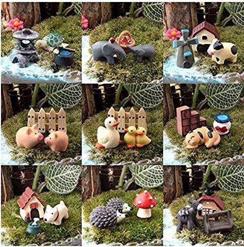 27 Teile / los Miniatur Lebensechte Tier Kuh Hund Ente Schildkröte Schwein Micro Fairy Garden Miniatur / Terrarium / Sukkulenten Dekoration Ornamente DIY Zubehör