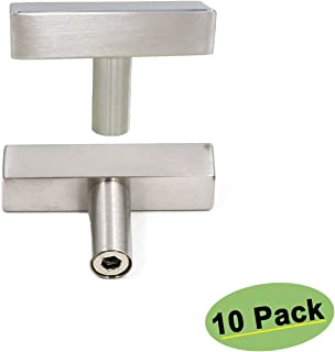 Small Wine Cabinet Door Knobs Brushed Nickel - Homdiy HD1212BSS 10Pack Single T Knob with 2inch Overall Length Square Kitchen Cabinet Hardware Knobs Desk Dresser Drawer Knobs Stainless Steel