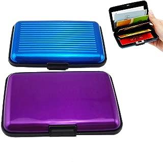 Yueton Pack of 2 Aluminum Credit Card Wallet RFID Blocking Case - Credit Card Holder for Men & Women -Business Card Case (Purple,blue)