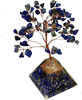 FASHIONZAADI Lapis Lazuli Natural Stone Feng Shui Bonsai Orgone Pyramid Tree with Copper Wire for Money Chakra Crystals Balancing Good Luck EMF Protection Healing Money Tree Table Décor Size 7-8 inch