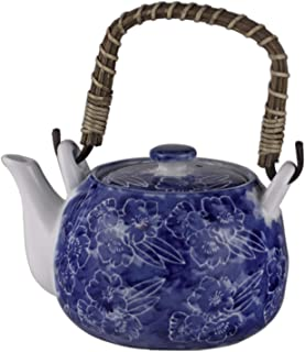 FMC Fuji Merchandise Corp Kagetsu Traditional Japanese Style Ceramic Dobin Teapot w/Rattan Handle 25 fl oz Teapot with Stainless Steel Infuser Strainer Loose Leaf Tea Blue Umei Plum Blossom Design