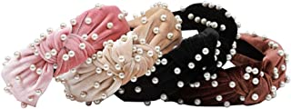 KWHY 4PCS Pearl Headbands for Women Girls Cross Knot Turban Hairband Cute Hair Hoop Headwrap Hair Accessories