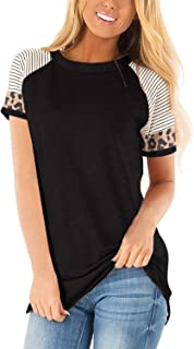 QAKEHU Damen T-Shirt Kurzarm Top Einfarbig Shirt Oberteil Casual Sommer Tee Tops