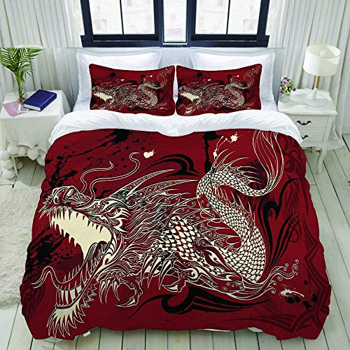 Nonun Duvet Cover,Dragon Doodle Sketch Tattoo,Bedding Set Ultra Comfy Lightweight Luxury Polyster Quilt Cover Sets (3pcs)