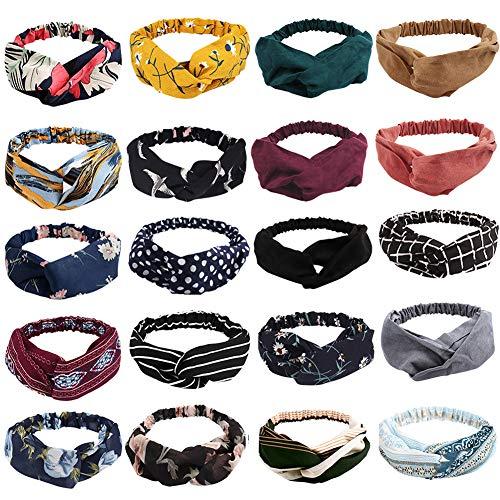 20 Pack Boho Headbands for Women,Ahoney Knotted Hair Band Elastic Headband Fashion Twisted Head Wrap Floral Bandeau Headbands (20 PACK)