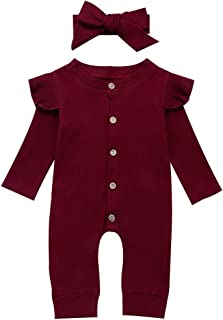 Newborn Infant Baby Girl Ruffle Long Sleeve Romper One Piece Jumpsuit with Headband Fall Clothes Outfits