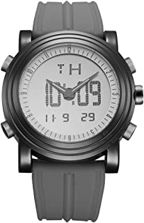 Mens Analog Digital Sport Watches Electronic Wrist Watch with Alarm Stopwatch LED Backlight and Rubber Strap