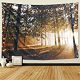 Dremisland Sol Atardecer Bosque Tapiz de Pared Sol a través de tapices de árboles Colgante de Pared Naturaleza Paisaje Tapiz Tela Mural Playa Decoración para Dormitorio Sala de Estar (L/148X200cm)