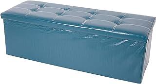 Mobili Rebecca® Pouf Boîte de Rangement Banc de Stockage Système de Rangement Rectangle Vert Design Contemporain Salon Bur...