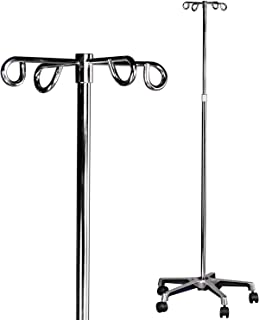 MABIS IV Stand, Adjustable Height, Rolling IV Pole, 5 Two Wheel Casters and 4 Prongs to Hold IV Bags, Height Adjusts from 47 to 82 Inches, Silver