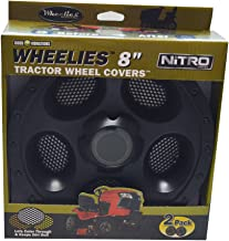 Good Vibrations Wheelies Nitro Series - Riding Lawn Mower Tractor & Golf Cart Wheel Covers - Snap Fit to the Rim - 8 inch Diameter (Black) / 2pk