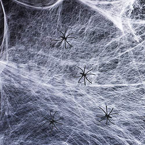 Innoo Tech Halloween Spinnennetz, Halloween Spinngewebe Deko, Tür Dekostoff mit 60g Dehnbare Spinnweben und 25 Spinnen Halloween Requisiten Deko (Weiß)