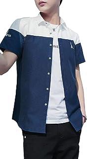 [アルトコロニー] バイカラー 五分袖 シャツ お洒落 開襟 カジュアル ストリート キレイメ ワンポイント M ~ XL メンズ