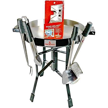 "FireDisc Ultimate Camping RV Bundle   Includes Original 24"" Short FireDisc Propane Cooker Black   Wind Helmet   Ultimate Cooking Accessories"