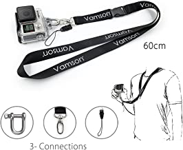 Vamson 60cm Detachable Long Neck Strap Lanyard Sling with Quick Release and Safety Tether for GoPro Hero 8/7/ 6/5/ 4 for DJI OSMO Action/Xiaomi yi 4k and The Other Sports Action Cameras VP210