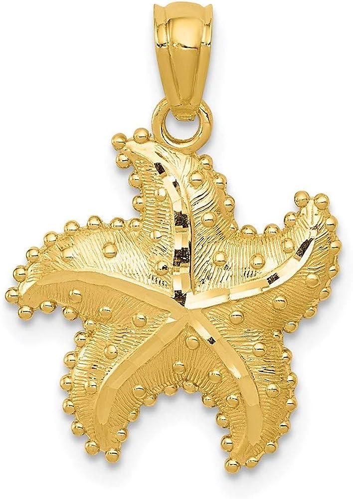 outlet 40% OFF Cheap Sale 14k Yellow Gold Starfish Diamond-Cut Pendant