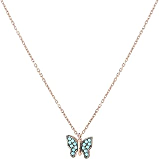 Alwan (Plated) Necklace with Turquoise Butterfly for Women - EE5215BG