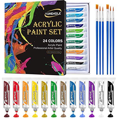 YUHENGLE Acrylfarben Set, 24 kräftige Farben, Premium Acrylfarbe Bunt mit 6 pinsel, zum Malen von Leinwand, Keramik & Kunsthandwerk, Geschenk für Frauen Mädchen Kinder, Geschenke Set für Kindertag