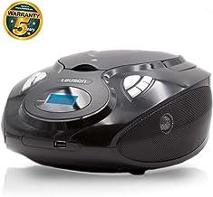 Lauson CP635 Radio FM Sintonizador Pantalla LCD y Reproductor de CD Portátil con USB | Lector USB para Reproducir Música MP3 | CD Player con Salida de Auriculares 3.5mm Altavoces Incorporados (Negro)