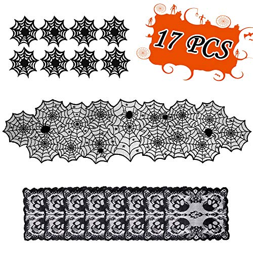 Halloween Table Decorations Set - Spider Web Table Runne Skull Placemats Spiderweb Cup Coasters- Desk Hallowmas Decor Party Supplies