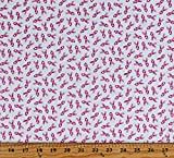 Cotton Pink Ribbons Breast Cancer Awareness Ribbons on White Cotton Fabric Print by The Yard (D777.24)