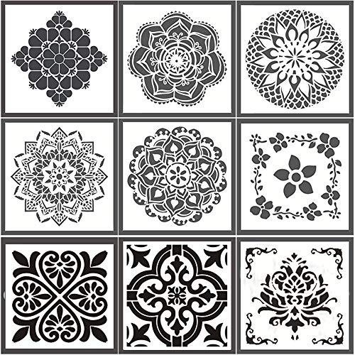 Reusable Stencils for Painting,Laser Cut Painting Templates 9 Styles (8x8 inch) Floor Wall Tile Fabric Wood Stencils (White)