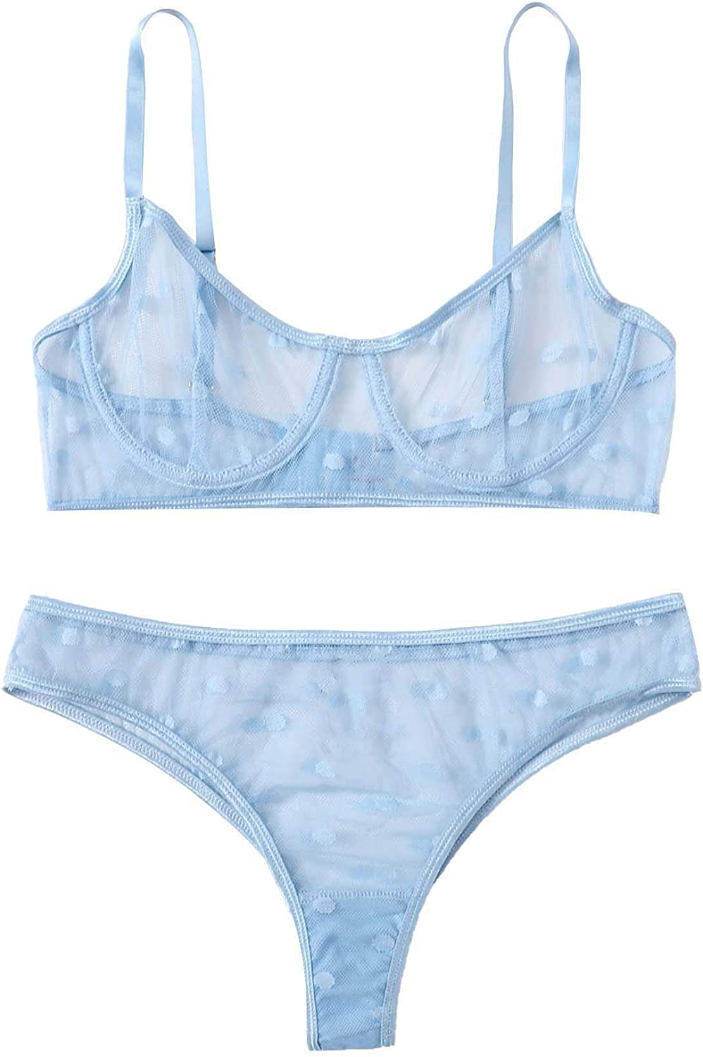 SOLY Raleigh Mall HUX Women's Sheer Mesh Super sale Bralette Set and Lingerie Bra Thongs