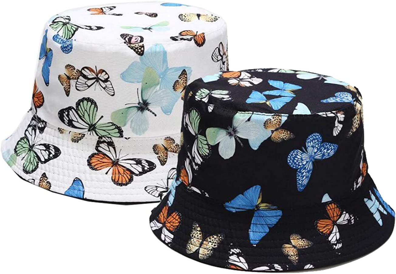FGSS Womens Sun-Hat Bucket-Butterfly Pattern Reversible Packable UV-Protection Fisherman Cap