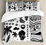Tiki Bar Bedding Sets, Tribal and Ethnic Composition Palms Pineapple Paradise Vintage Ancient Figure,3 Piece Duvet Cover Set Comforter Cover for Childrens/Kids/Adults,Black White,Full Size