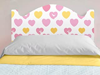 Oedim - Cabecero Cama Infantil PVC Impresión Digital Corazones Rosas y Amarillos | 150 x 100 cm | Disponible en Varias Medidas | Cabecero Ligero, Elegante, Resistente y Económico