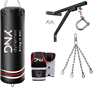 DYNEMEX | Punching Bag for Boxing Training unfilled 5ft Muay Thai Training Gloves with Punch Mitts, Wall Bracket, Chain, 5...