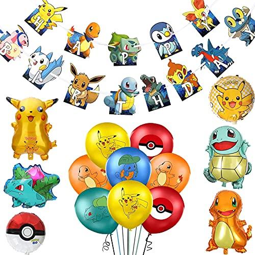 Cumpleaños Pokemon Globo, Pokemon Pikachu Globos, Pokémon Helium Foil Balloons,Globos de Pokemon,Pikachu Fiesta Globos,Pikachu Globos de Papel de Aluminio,Helium Foil Globos para Fiestas de cumpleaños