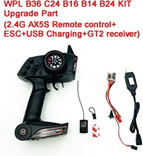 BeesClover 2.4G AX5S Remote Control+ESC+USB Charging+GT2 Receiver Electronic Equipment Upgrade Part Set for WPL KIT B36 C24 B16 B14 B24 RC Car