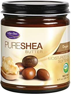 Life-flo Pure Organic Shea Butter, Unrefined | Moisturizes, Smooths & Conditions Skin, Hair & Scalp | No Parabens | 9oz