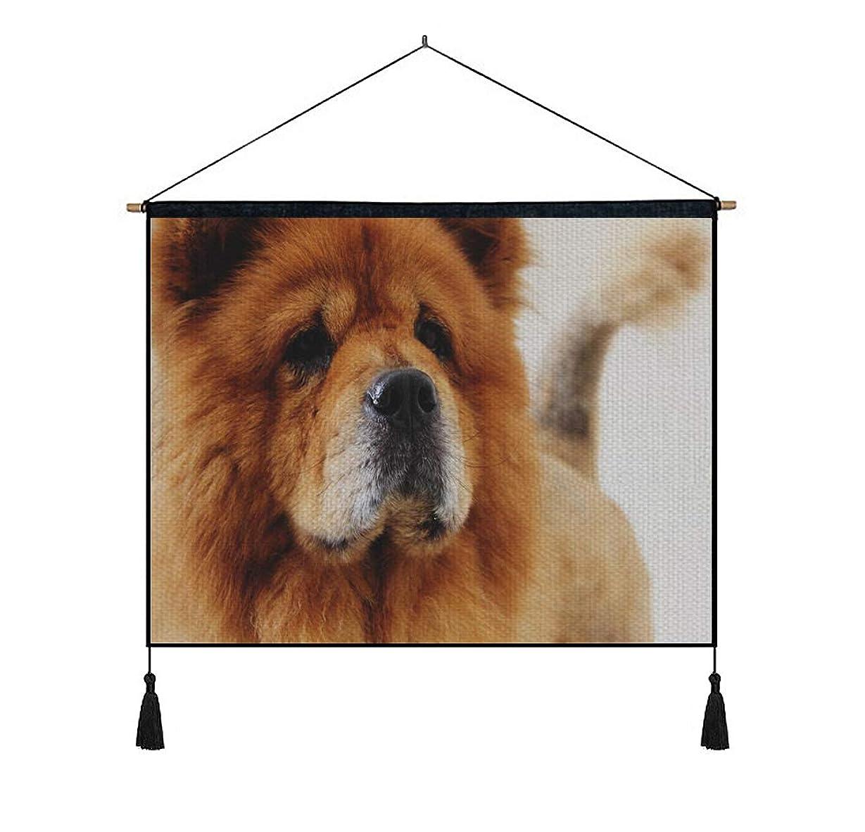 つぶやき枝殺します綿の麻 タペストリー 多機能 掛け軸 掛け物 横 65cmx45cm (チャウチャウ犬の銃口) 個性 掛け軸 掛け物 掛けじく ポスター インテリア 組立式 部屋飾り壁 壁飾り